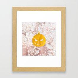 Golden Halloween Pumpkin Face on Rosegold Framed Art Print