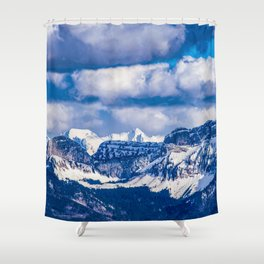 Embraced by the Mountains Shower Curtain