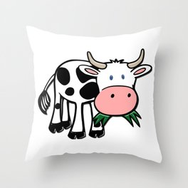 Black and White Steer Munching Grass Throw Pillow
