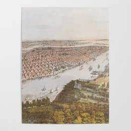 Vintage Pictorial Map of New York City (1866) Poster