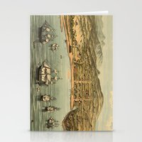 san francisco map Stationery Cards featuring Vintage Pictorial Map of San Francisco (1884)  by BravuraMedia