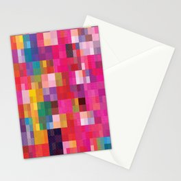 Pixel Quilt Pink Stationery Cards