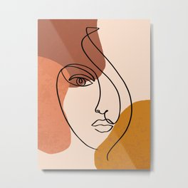 Abstract Shapes-Face Line Art Metal Print
