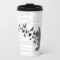 Vintage Style Print with Poem Text Edgar Alan Poe: Edgar Alan Crow Travel Mug