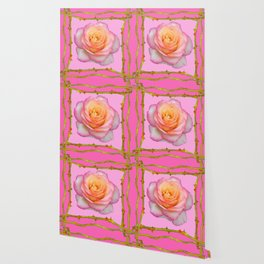 ROSE & RAMBLING THORNY CANES PINK BORDER PATTERNS Wallpaper