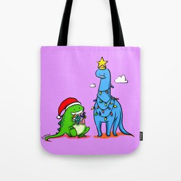 Dinosaurs - Christmas Tree Santa Tote Bag