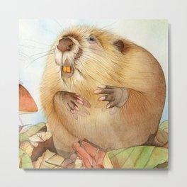 Mouse & Beaver Metal Print