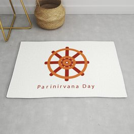 Parinirvana or nirvana Day refer to nirvana-after-death. Buddhist wheel of Dharma symbol	 Rug