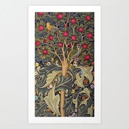 William Morris Woodpecker, Fruit Tree & Poppy Flower Garden Tapestry Textile Floral Print Art Print