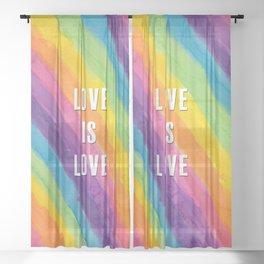 Love is Love Rainbow Watercolor Stripes Sheer Curtain