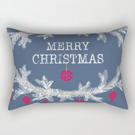 Merry christmas and happy new year greeting card wreath background Rectangular Pillow
