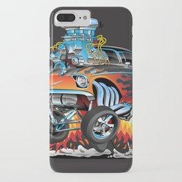 Classic hotrod 57 gasser drag racing muscle car cartoon iPhone Case