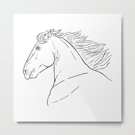 Horse head, black and white realistic illustration. Metal Print