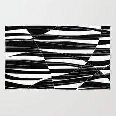 Carved Black and White Wave Rug