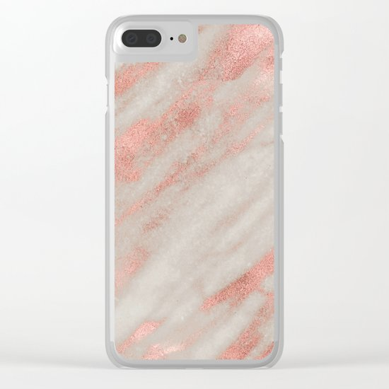 Smooth rose gold on gray marble Clear iPhone Case