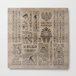 Egyptian hieroglyphs and symbols on wood Metal Print