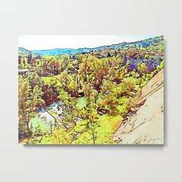 Fognano: wood and cityscape Metal Print