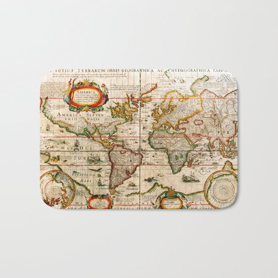 Vintage Map Bath Mat