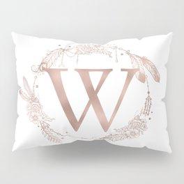 Letter W Rose Gold Pink Initial Monogram Pillow Sham