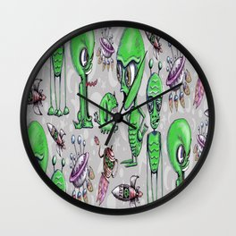 Little Green Men Wall Clock