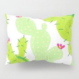 Cactus, green shades, crimson flowers Pillow Sham