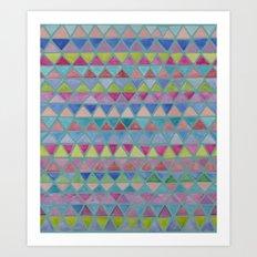Colored Watercolor Triangles Art Print