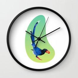Low-poly blue bird Wall Clock
