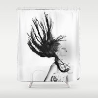 gravity Shower Curtains featuring Gravity by Kenneth Marti