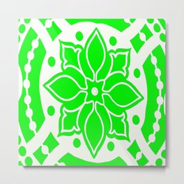 Green and White Graphic Medallion Abstract Metal Print
