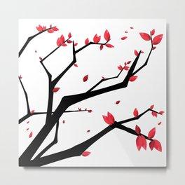 Cherry Blossom Geometric Metal Print