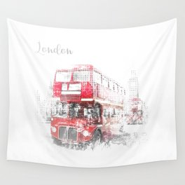 Graphic Art LONDON WESTMINSTER Street Scene Wall Tapestry