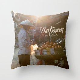Vietnam street market Throw Pillow