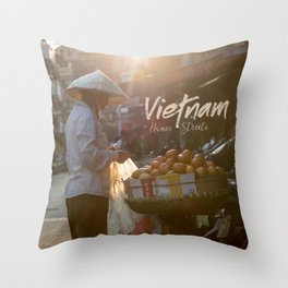 Vietnam street market Throw Pillow