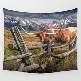 Texas Longhorn Steer with Wood Log Fence in Wyoming Pasture Wall Tapestry