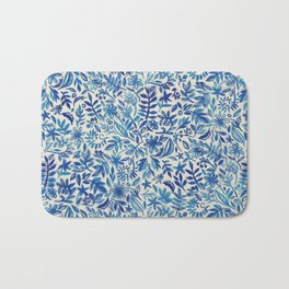 Floating Garden - a watercolor pattern in blue Bath Mat