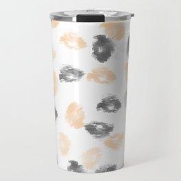 Black gray coral watercolor abstract brushtrokes Travel Mug