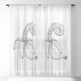 Octopus banana black & white Sheer Curtain