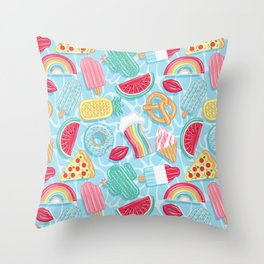 Epic pool floats top view // blue background Throw Pillow