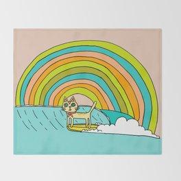 Rad Surf Kitty Tastes the Rainbow Single Fin Longboard Throw Blanket