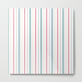 Blue Coral Yellow Gray Pin Stripes Metal Print