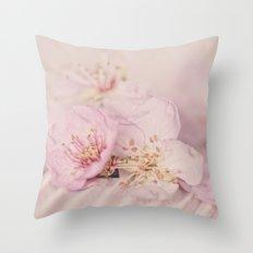Romantic Soft Pink Peach Blossom Throw Pillow