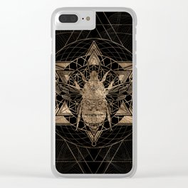 Bumble Bee in Sacred Geometry - Black and Gold Clear iPhone Case