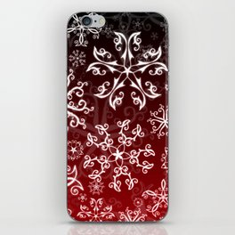 Symbols in Snowflakes on Holly Berry iPhone Skin
