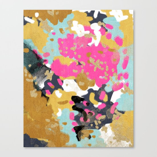 Laurel - Abstract painting in a free style with bold colors gold, navy, pink, blush, white, turquois Canvas Print