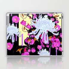 Modern Art White Spider Mums Pink Flowers Black Laptop & iPad Skin