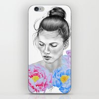 peony iPhone & iPod Skins featuring Peony by Libby Watkins Illustration