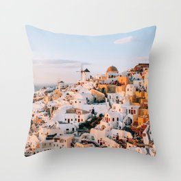 Dreaming at Dusk   Santorini, Greece Throw Pillow