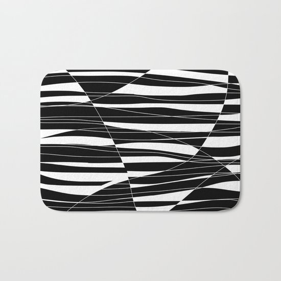 Carved Black and White Wave Bath Mat