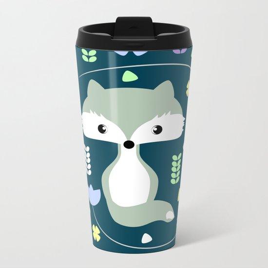 Fox among flowers Metal Travel Mug