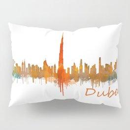 Dubai, emirates, City Cityscape Skyline watercolor art v2 Pillow Sham